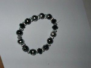 Black  Metalic Glass Bead Stretch Bracelet