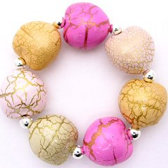 Pink Peach Tan  Stretch Bracelet