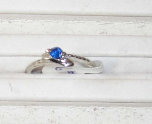 Blue Petite Stone Stainless Steel Ring 6 New