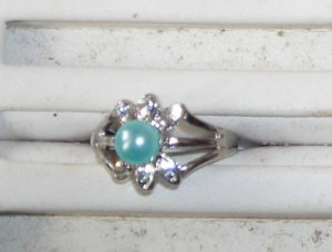 Aqua Pearl  Ring Size 6 NEw
