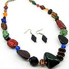 Multi Color Stone  20 Inch Necklace Set With Earrings