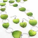Green Heart Shell  36 Inch Necklace Set With Earrings