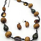 Turq  Wood 34 Inch Necklace Set With Earrings