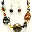 Multi Stone 18 Inch Necklace Set With Earrings