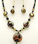 Black Glass 18 Inch Necklace Set With Earrings