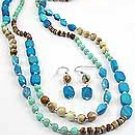 Faux Stone 60 Inch Necklace Set With Earrings