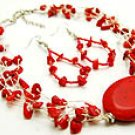 Red Ceramic 16 Inch Necklace Set With Earrings