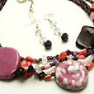 Purple Ceramic 18 Inch Necklace Set With Earrings