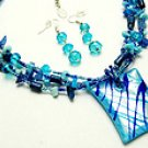 Blue Glass 16 Inch Necklace Set With Earrings