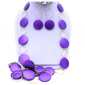 Purple  Color 38 Inch NECKLACE SET
