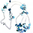 Turq Silver Color 40 Inch NECKLACE SET