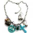 Turq Color Charm  18 Inch NECKLACE SET