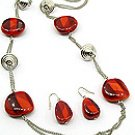 Red Bead 32 Inch Necklace Set With Earrings