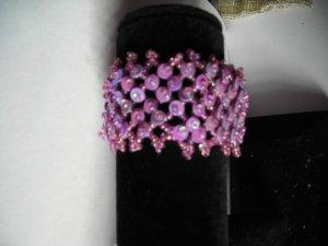Pink Sequien Bead  Band Stretch Bracelet