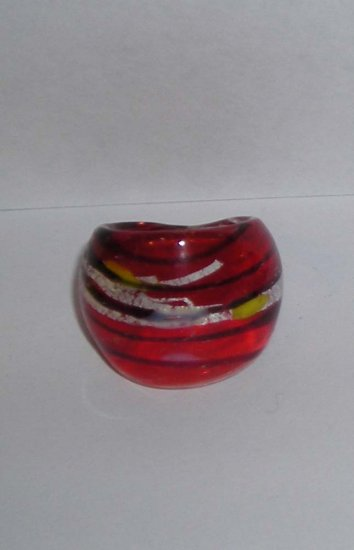 White  red  MURANO GLASS RING Size 8