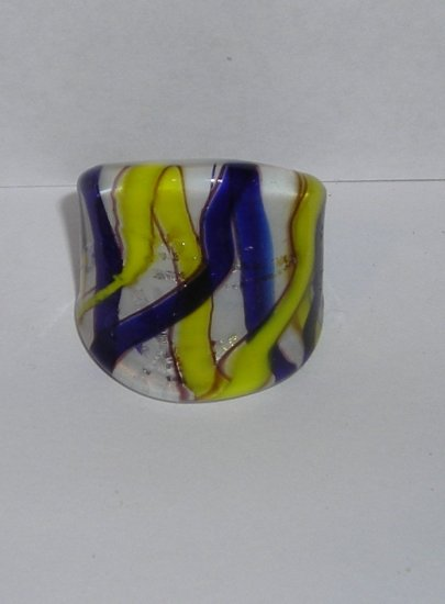 Navy Yellow  MURANO GLASS RING Size 10