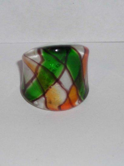 Green Orange  MURANO GLASS RING Size 8