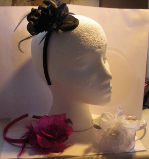 White Satin Headband Matching Flower With Feathers