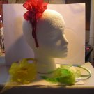 Red  Satin Headband Matching Flower With Feathers