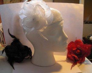 Black Flower Feather Stretch Full Headband