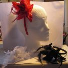 Red Satin Headband Matching Flower With Feathers Dots