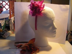 Rust Satin Headband Matching Flower With Feathers Dots