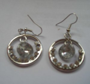 Silver Color Round Dangle CZ  EARRINGS