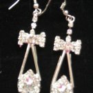 Silver Color Dangle Bow  CZ  EARRINGS