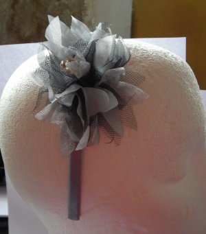 Gray and Black Satin Headband With Tulle Flower