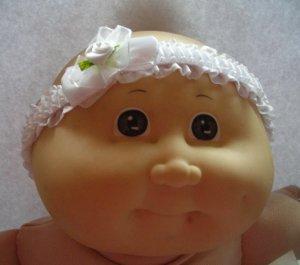 Baby White Satin Headband WithRose Flower