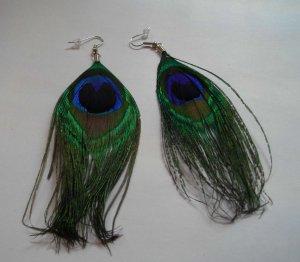 4 Inch Peacock Earrings Clip On Or Pierced