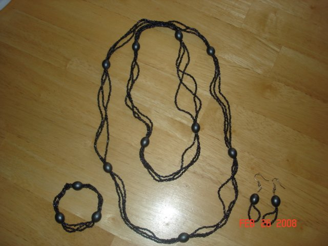 Blue Beaded twist Necklace, Bracelet, & Ear Rings