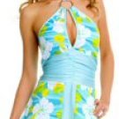 Halter Retro Print Flower Dress with Ring Buckle
