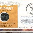 2002 Uncirculated Commemorative Cover Mississippi Quarter - Philadelphia Mint Mark