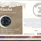 2008 Uncirculated Commemorative Cover Alaska Quarter - Denver Mint Mark