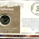 2008 Uncirculated Commemorative Cover Oklahoma Quarter - Philadelphia Mint Mark