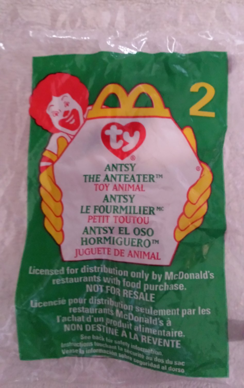 McDonald's Happy Meal Toy Ty Teenie Beanie Baby Antsy the Anteater #2