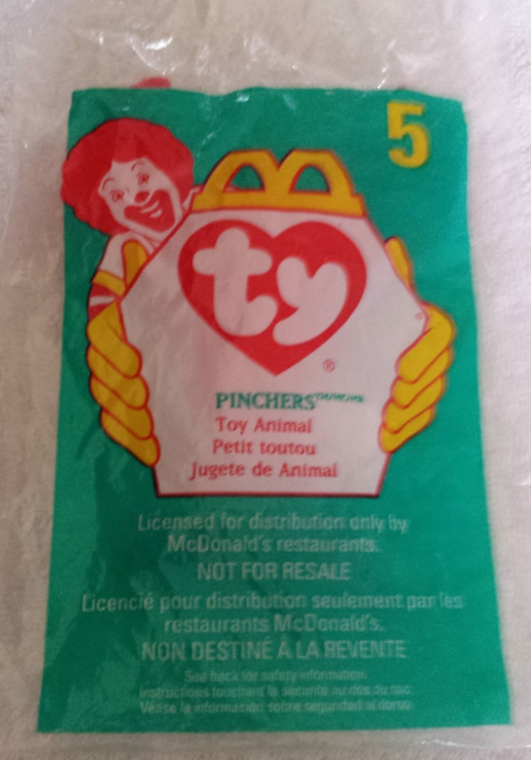 McDonald's Happy Meal Toy Ty Teenie Beanie Baby Pinchers the Lobster #5