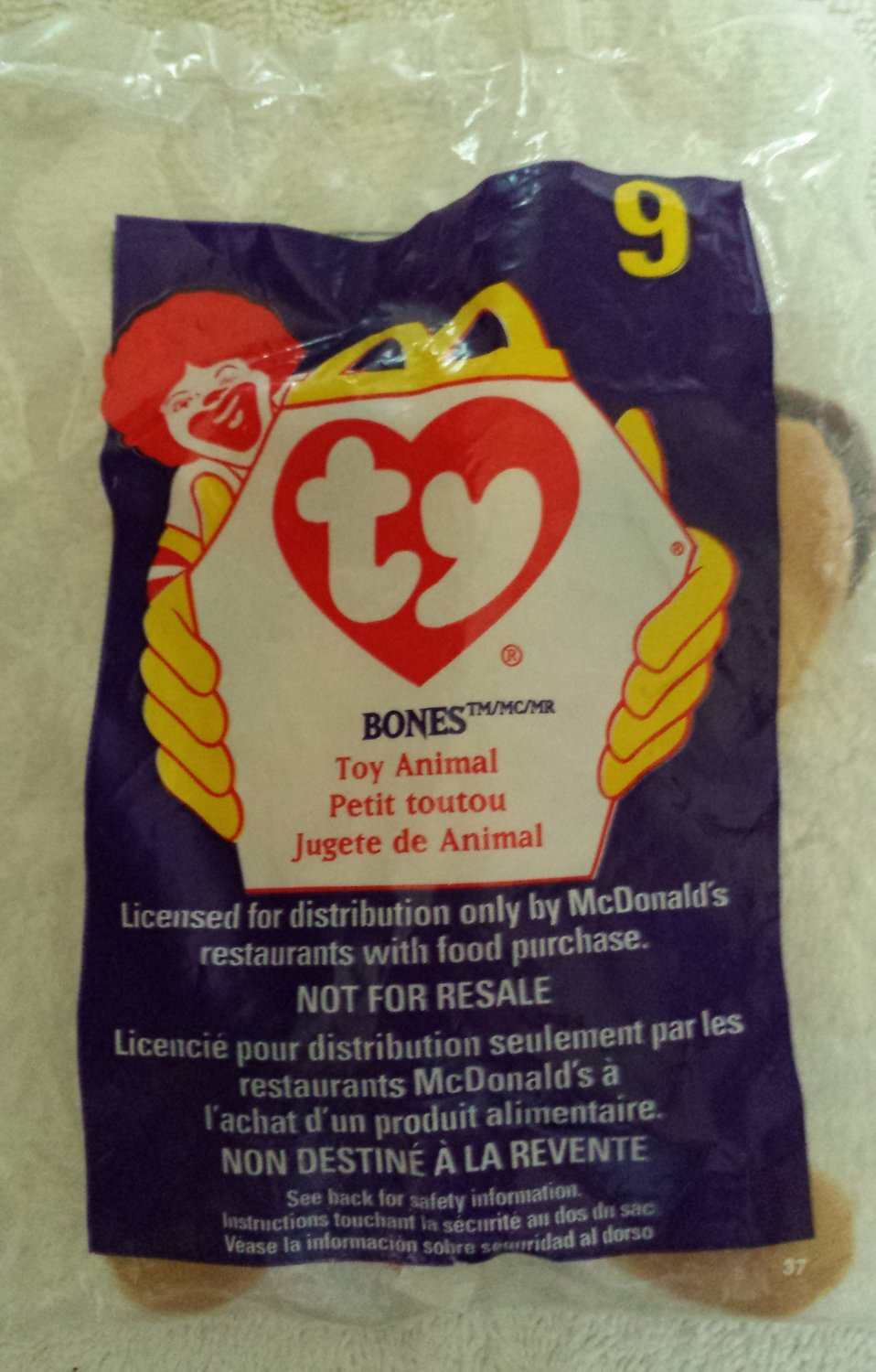 McDonald's Happy Meal Toy Ty Teenie Beanie Baby Bones the Dog #9