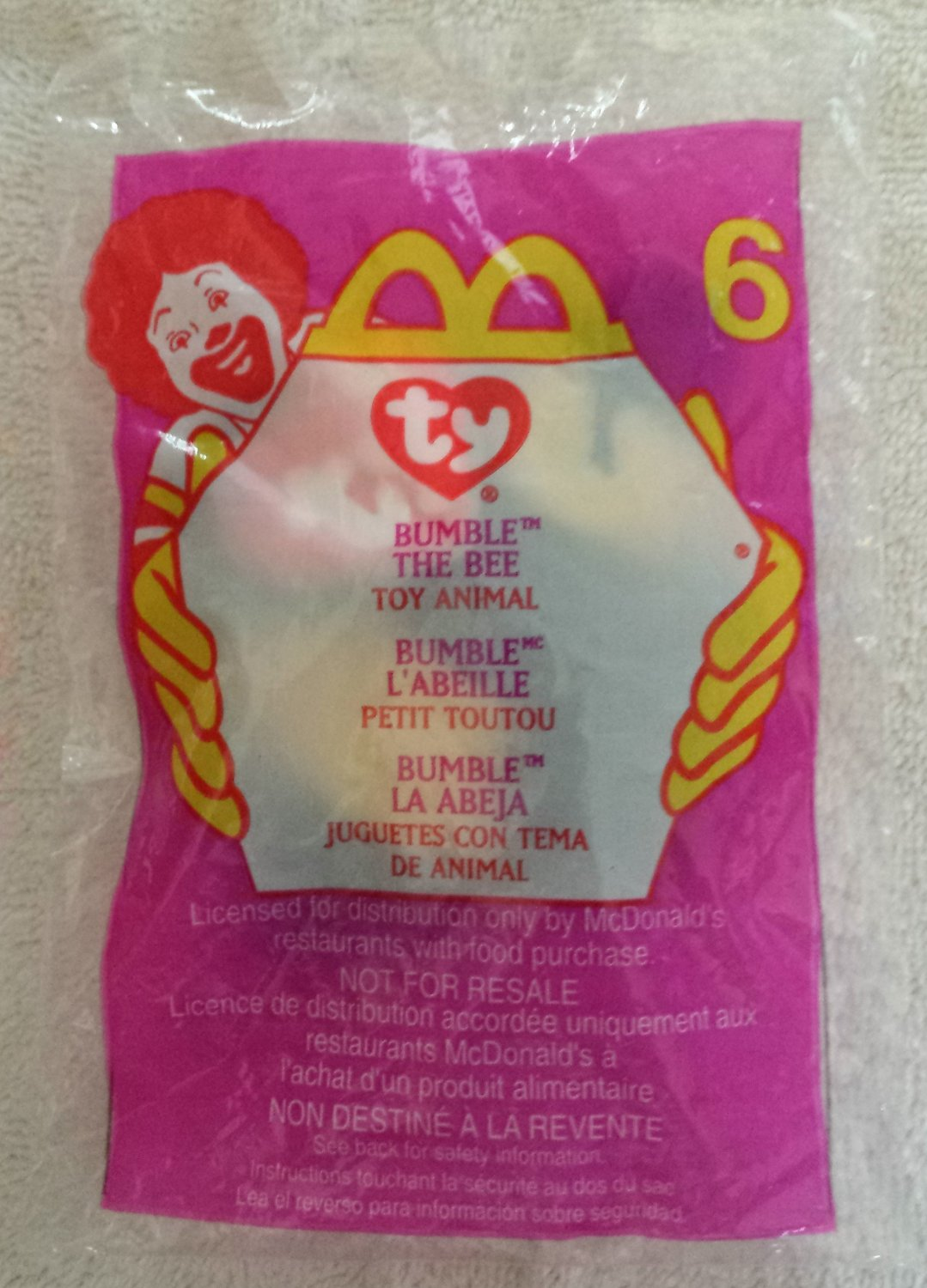 McDonald's Happy Meal Toy Ty Teenie Beanie Baby Bumble the Bee #6
