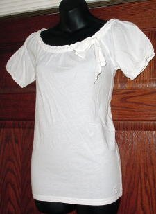 NWT ABERCROMBIE & FITCH Ribbon Tie Neckline Knit Top L