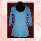 NWT GAP Dodger Blue 3/4 Sleeve Pima Cotton Henley Top S