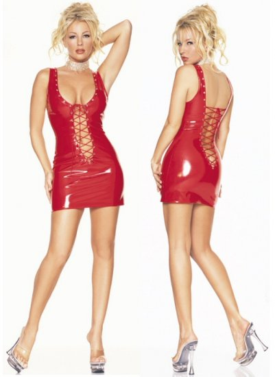 Vinyl Lace Up Mini Dress