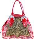 Animal Fur Design Tote Style Handbags with Acrylic Stone Accents