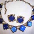 FABULOUS CORO SIGNED BLUE LUCITE MOONGLOW DEMI