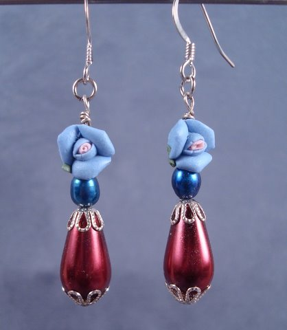 Glass Pearl and Polymer Flower Earrings