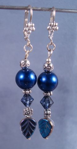 Navy glass pearl earrings