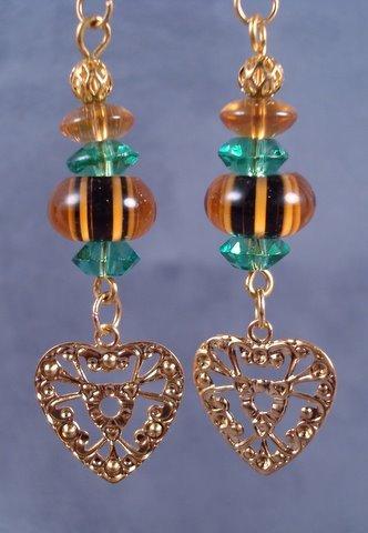 Tiger Stipe Lampwork Earrings