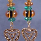 Tiger Stipe Lampwork Earrings