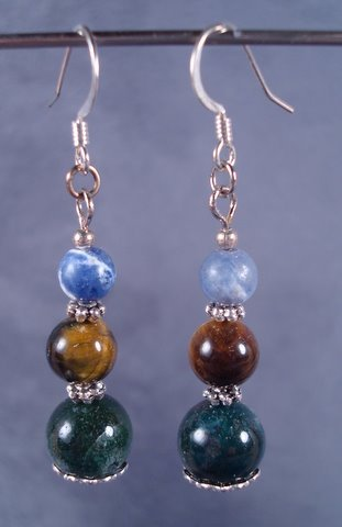 Green coral , Tigers Eye and Solodite earrings